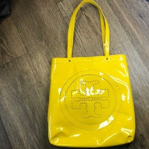 Patent Leather Tory Burch Perforated Tote Bag